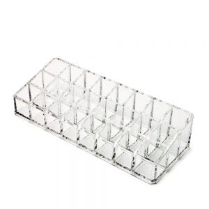 Vastra Plastic 24-Compartment Makeup/Lipstick Storage Holder Organiser (Transparent)