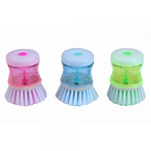 Dish / Wash Basin Plastic Cleaning Brush With Liquid Soap Dispenser