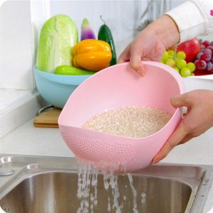 Vastra Plastic Washing Bowl & Strainer (24x20x14 CM)(Color may vary)