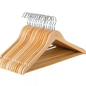 Vastra Wooden Walnut Finish Clothes Hanger for Hanging Clothes, Saree, Shirts, Coat, Pant/Cloth Organizer for Cupboard