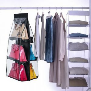 Vastra Large Clear Purse Hanging Storage Organizer Closet Tidy Handbag