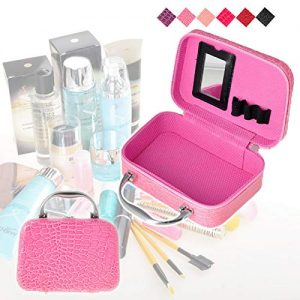 Vastra Multifunction Travel Cosmetic MakeUp Bag With Small Mirror Adjustable Dividers for Cosmetics Makeup Brushes