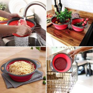 Vastra Foldable Silicone Colander Fruit Vegetable Washing Basket Strainer Collapsible Drainer with Handle Kitchen Tool