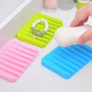 Vastra  Self Draining Silicone Drying Mat Soap Dish Holder Tray