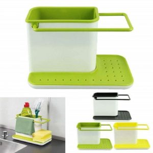 Vastra 3 IN 1 Kitchen Sink Organizer for Dishwasher Liquid, Brush, Cloth, Soap, Sponge, etc.