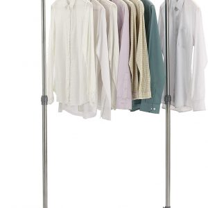Vastra Stainless Steel Adjustable Rolling Garment Rack, Single Rail Rolling Clothes Rack, Extensible Clothing Hanging Rack